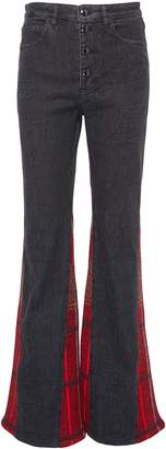 Sonia Rykiel Tartan plaid gusset flared leg jeans