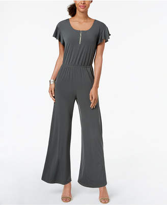 NY Collection Petite Zip-Neck Jumpsuit