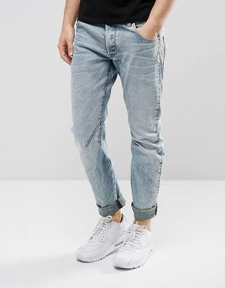 G Star G-Star Arc 3D Slim Jeans Light Aged Rip and Repair