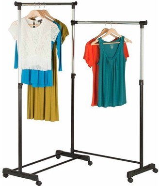Honey-Can-Do Bar Corner Garment Rack with Rollers, Black