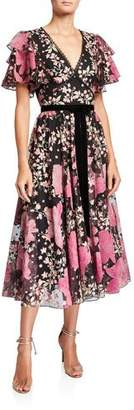 Marchesa Floral V-Neck Flutter-Sleeve Embroidered Cocktail Dress