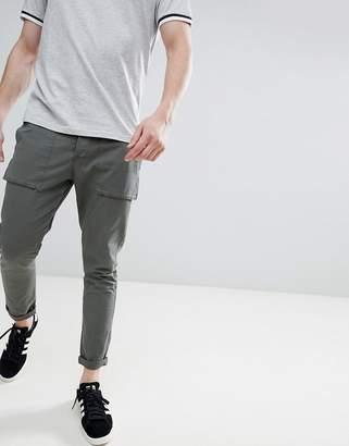 Solid Utility Pants In Dark Khaki