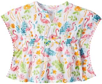 Mud Pie Flamingo Ruffle Swimsuit Cover-Up Girl's Swimsuits One Piece