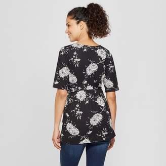 MaCherie Maternity Floral Elbow Sleeve V-Neck Printed Top - Ma Cherie Black