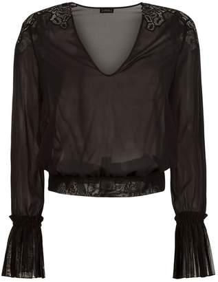 La Perla Quartz Garden Black Silk Chiffon Shirt With Leavers Lace And Pleat Detail