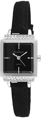 Peugeot Women's Silver Black Face Small Petite Faceted Crystal Thin Black Suede Band Luxury Watch 3047SBK