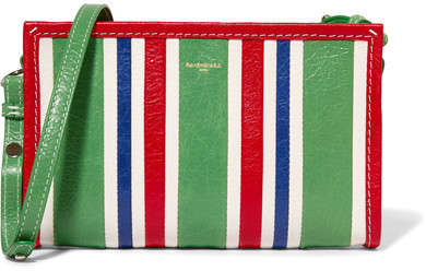 Balenciaga  Balenciaga - Bazar Striped Textured-leather Shoulder Bag - Green