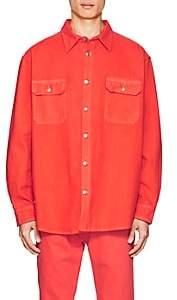 424 Men's Denim Oversized Work Shirt-Orange