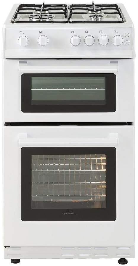 50GTC 50cm Wide Twin Cavity Gas Cooker (White) With Optional Connection