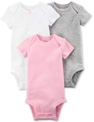 Carter's Little Planet Organics 3-Pack Assorted Solid Cotton Bodysuits, Baby Girls