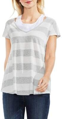 Vince Camuto Striped Layered T-Shirt