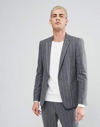 Asos Skinny Blazer In Wool Mix Grey Pinstripe