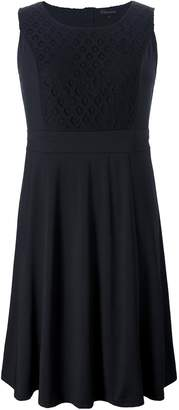 Chicwe Women's Plus Size Skater Dress Sleeveless With Lace Panels 2X