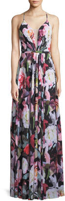 LM Collection Floral Illusion Sweetheart Dress, Black