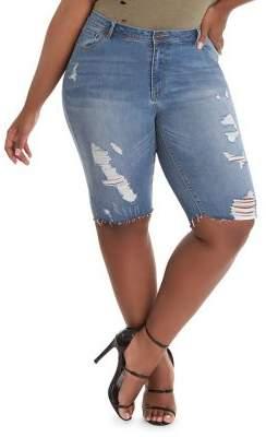 Anthony Logistics For Men LA LA Plus Dest Slim-Fit Distressed Denim Bermuda Shorts