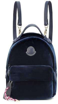 Moncler Leather-trimmed velvet backpack