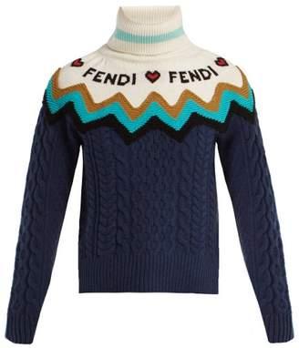Fendi Roll Neck Wool Blend Sweater - Womens - Blue