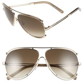 Chloé 'Isidora' 61mm Aviator Sunglasses $396 thestylecure.com