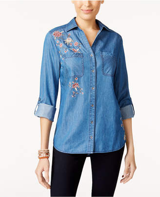 Style&Co. Style & Co Embroidered Chambray Shirt, Created for Macy's