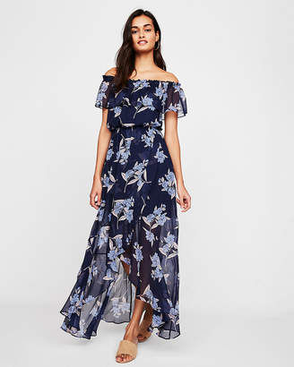 Express Petite Floral Off The Shoulder Ruffle Front Maxi Dress