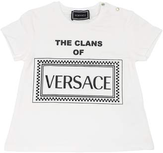 Versace Logo Printed Cotton Jersey T-shirt