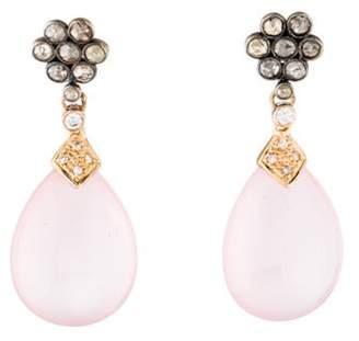 Two-Tone Quartz & Diamond Drop Earrings rose Two-Tone Quartz & Diamond Drop Earrings