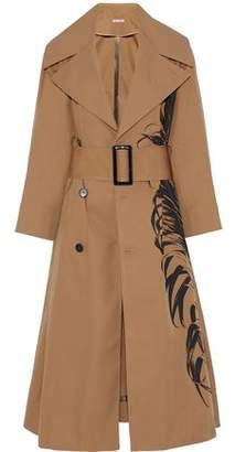 Oscar de la Renta Printed Cotton-Blend Twill Trench Coat