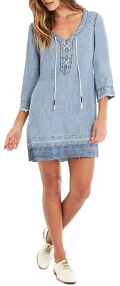 Women's Michael Stars Raw Hem Lace-Up Shift Dress $188 thestylecure.com