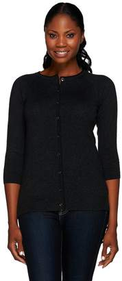 Halston H By H by Silk-Cashmere Blend Crew Neck Button Front Cardigan