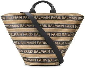 Balmain striped logo tote