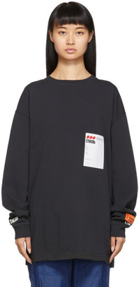 Heron Preston Black Sticker Label Long Sleeve T-Shirt