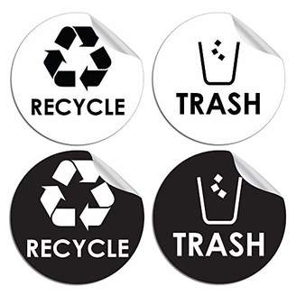 """Recycle Trash Bin Logo Sticker - 4"""" x 4"""" - Organize & Coordinate Garbage Waste from Recycling - Great for Metal Aluminum Steel or Plastic Trash Cans - Indoor & Outdoor - Use at Home Kitchen & Office"""