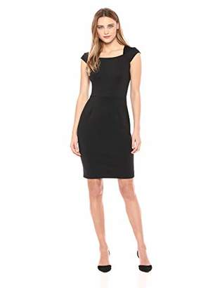 Calvin Klein Women's Cap Sleeve Sheath with Square Neckline Dress