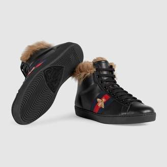 Gucci Ace high-top sneaker with wool