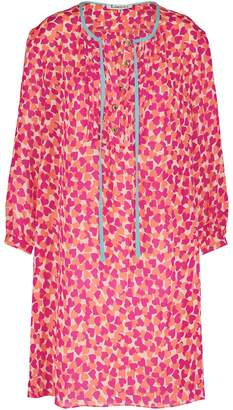 Libelula Long Bothway Top Pink & Orange Hearty Print