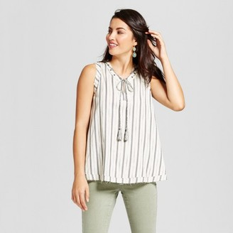 Knox Rose Women's Geo Stripe Tank with Grommet Neck Detail - Knox Rose Ivory $22.99 thestylecure.com