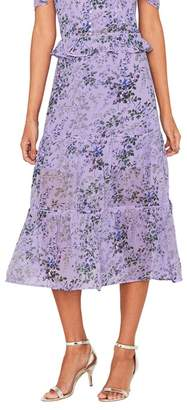 Oasis Multi Lilac 'Provence' Tiered Midi Skirt
