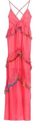 Just Cavalli Ruffled Printed Silk Gown