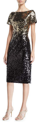 Marina Ombre Sequin Sheath Dress