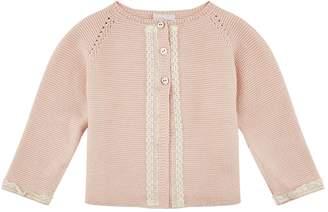 Paz Rodriguez Knit Lace Trim Cardigan