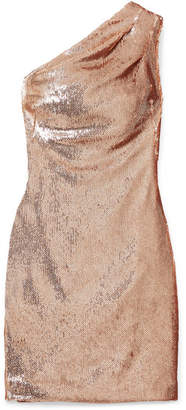 HANEY Valentina One-shoulder Sequined Crepe Mini Dress - Metallic