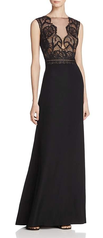 Tadashi Shoji Illusion Lace-Bodice Gown - ShopStyle Evening