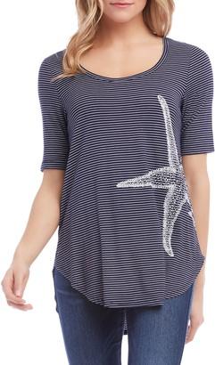 Karen Kane Starfish Stripe Shirttail Tee