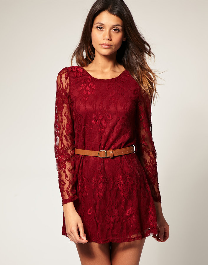 Rare Long Sleeve Belted Lace Dress