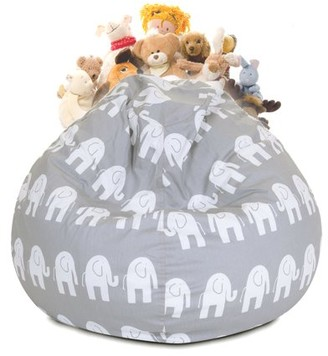 Majestic Home Goods Ellie Stuffed Animal Storage Bean Bag Chair Cover w/ Transparent Mesh Base, Multiple Colors