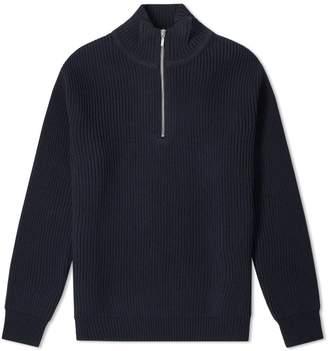 Beams Half Zip Rib Knit