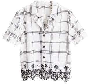 MANGO Embroidered checked shirt