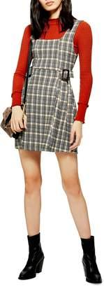 Topshop Check Print Pinafore Dress