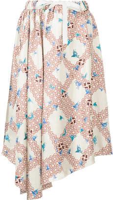 ASTRAET lattice bird print skirt