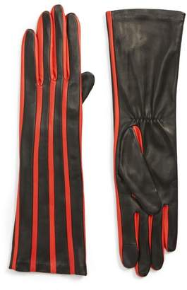 Agnelle Stripe Lambskin Leather Gloves
